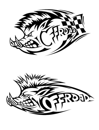 snarling: Snarling wild boar Off Road icon in black and white vector design with two variations, one with a checkered flag for motor sport and one without Illustration