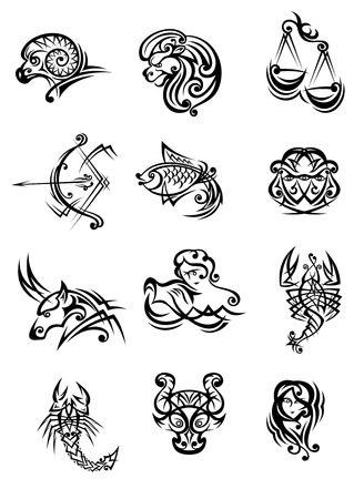 Tribal black and white vector doodle sketch zodiac signs Çizim