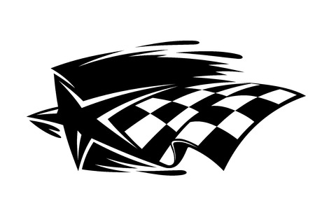 autosport: Motor sport icon with a black and white star and checkered flag with speed motion trails, vector illustration Illustration