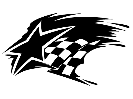 autosport: Motor sport icon with star and checkered flag with speed motion trails Illustration