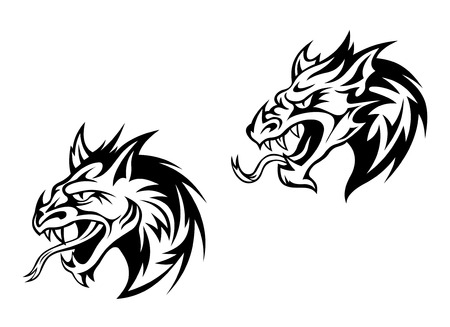 Black angry dragons or monsters in tribal style