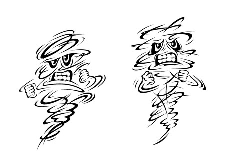 windstorm: Angry tornado and hurricane characters on white, vector doodle sketch