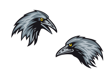 Cartooned blackbirds, jackdaws or ravens in profile with sharp beaks and yellow eyes Ilustracja