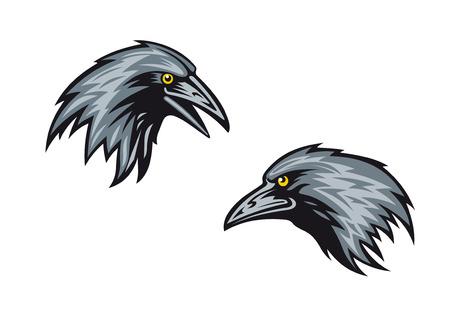 Cartooned merels, kauwen of raven in profiel met scherpe snavels en gele ogen