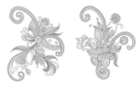 Intricate vintage swirling black and white persian vector floral elements