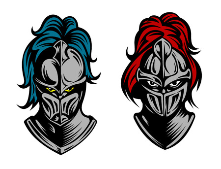 Heads of two knights in medieval armour with their eyes glinting behind metal visors and plumes of feathers on the helmets, vector illustration Illustration