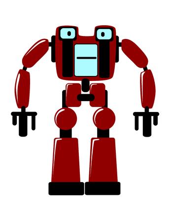 bajo y fornido: Fuerte robot futurista juguete con un cuerpo cuadrado y extremidades robustas de pie de cara al espectador, vector clipart ilustraci�n en blanco Vectores