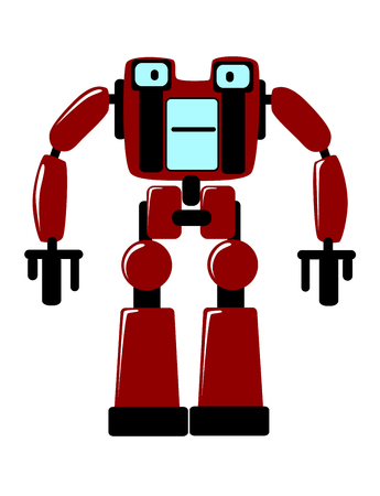 stocky: Strong futuristic toy robot with a square body and stocky limbs standing facing the viewer, vector clipart illustration on white