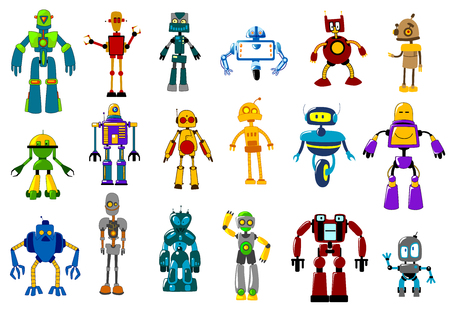 Cyborgs, robots and aliens set in cartoon style isolated on white Imagens - 35186812