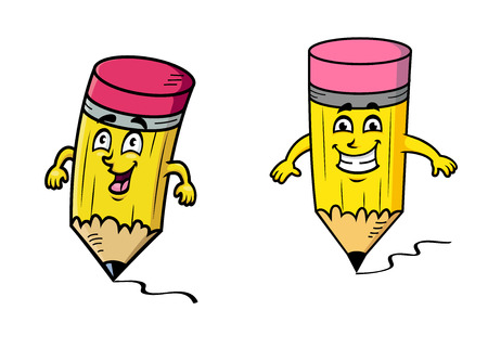 squiggly: Cartoon happy pencils with colorful pink rubbers and grinning smiles drawing squiggly lines in a back to school concept