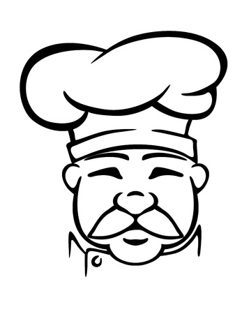 tunic: Black and white head outline of aged mustached cook in traditional chef hat and tunic