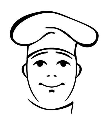 toque: Young chinese cook wearing chef coat and toque in white and black colours Illustration