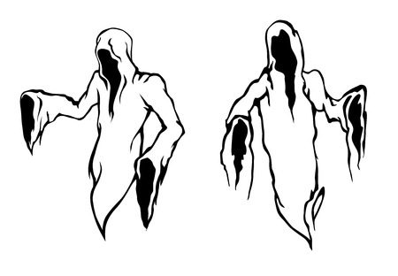 Halloween ghosts and monsters with the frightening empty hooded robes of the Grim Reaper or a monk in black and white vector designs