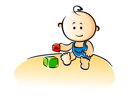 Cute cartoon baby sitting on the floor playing with building blocks, vector illustration Illustration
