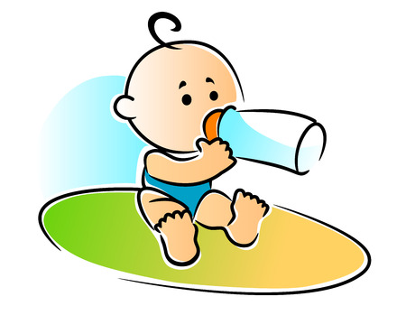 Adorable newborn baby with a single curl on its head sitting drinking a bottle of feed , vector illustration