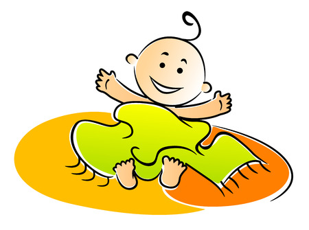Naughty mischievous little baby lying under a towel with a beaming smile, vector illustration Ilustração