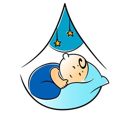 laying little: Little baby boy fast asleep in its cot wrapped in blue on a comfy pillow with dangling stars