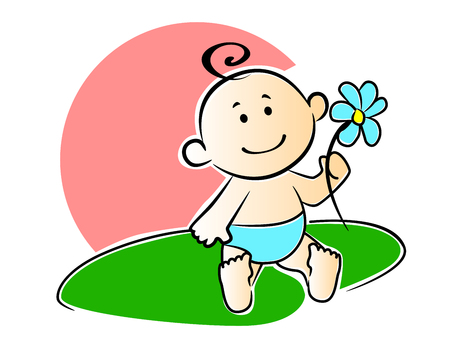 Happy adorable newborn baby playing with a flower outdoors on the grass on a hot summer day, cartoon style Vector