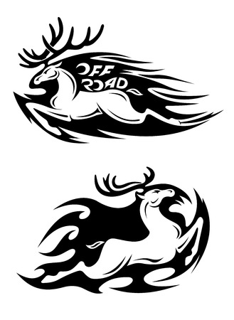 Leaping speeding deer Off Road vector icon with large antlers trailing motion flames in two variations, one with a checkered flag and the words - Off Road - and the other without