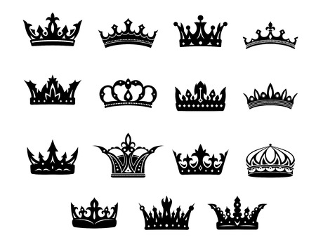 antiquity: Black and white vector royal crowns set for use in heraldry and decorative design elements for classical antiquity