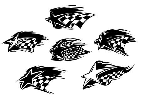 bandera carrera: Conjunto de deporte de motor de carreras de blanco y negro y Off Road iconos con banderas a cuadros y las estrellas con estelas de movimiento de velocidad, una con las palabras Off Road