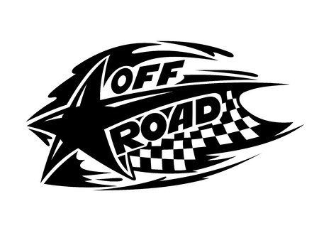 off road: Off Road motor sport event icon in black and white with a star over a checkered flag with speed trails and the words Off Road