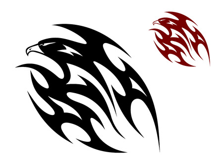 condor: Flying eagle, hawk or falcon bird in tribal style for tattoo design