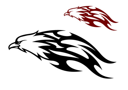 cruel: Flying speeding eagle icon with a cruel sharp beak trailing flames behind it in two color variants, black and red, vector illustration Illustration