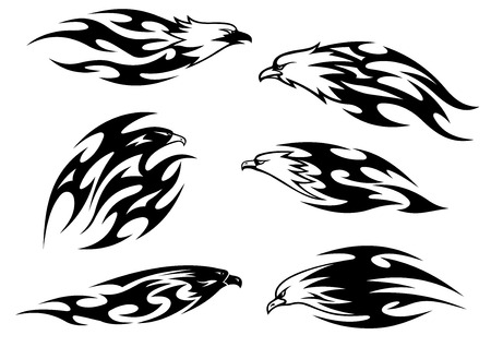 condor: Black and white flying eagles, falcons and hawks in tribal style for tattoo design