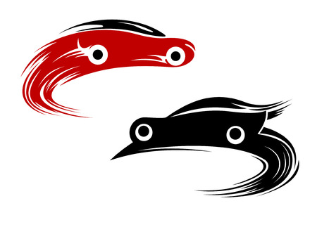 rally car: Racing cars speeding around a track with swirling motion or speed trails, stylized vector silhouettes in red and black color
