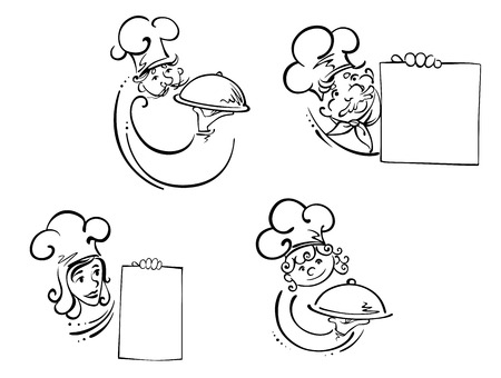 cartoon menu: Cooks, waiters and chefs in white toques holding food domes covering hot dinners and blank menu with copyspace