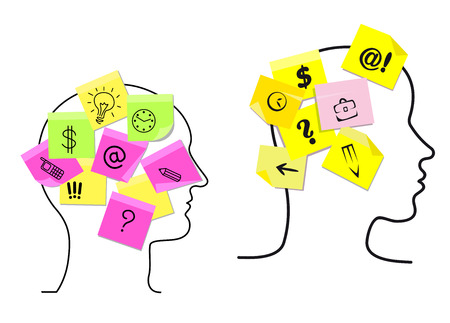 Vector design with the outlines of the heads of a multitasking man and woman with colorful sticky memos stuck to them detailing a variety of different task icons for time management Иллюстрация