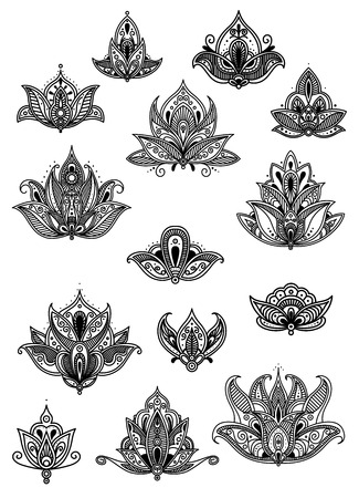 disegni cachemire: Ornato motivi in ??bianco e nero d'epoca Paisley fiore con delicati disegni calligrafici e modelli persiani intricati