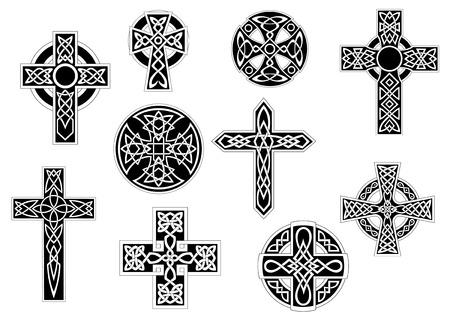 nudos: Conjunto de la vendimia cruces c�lticas decorativas en blanco y negro, para el dise�o religiosa