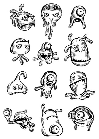 Cartooned scary Halloween monsters and aliens set pulling frightening faces Illustration