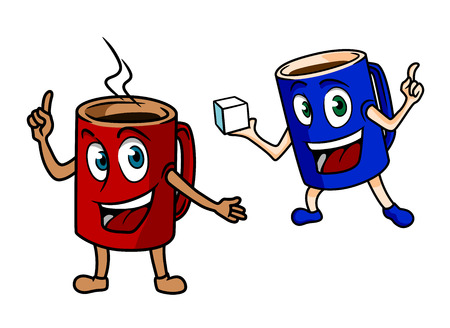 sugar cube: Two happy cartoon mugs of coffee, one red one pointing to the steam from the freshly brewed espresso and the other blue one carrying a sugar cube in hand