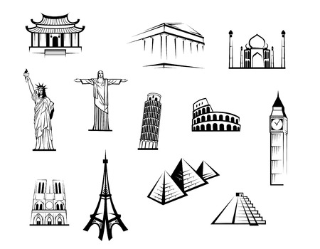 Black and white vector doodle sketch icons of famous worldwide landmarks for travel and tourism industry design Illustration