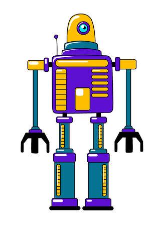 bajo y fornido: Robot de juguete colorido en el estilo vintage con un cuerpo robusto cuadrado, antena, y solo ojo en p�rpura, azul y naranja, ilustraci�n vectorial en blanco