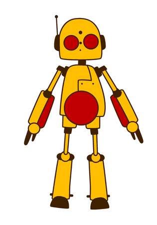 frontal view: Toy robot or alien in bright yellow with red eyes, antenna and domed head standing in a frontal view, vector illustration and design element isolated on white