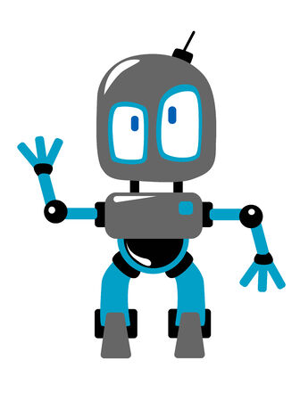 alien robot: Funny blue and grey cartoon robot or alien, with radio antenna on the head, waving hand, isolated on white