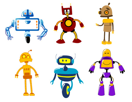 retro robot: Cute colorful cartooned retro robot toys isolated on white
