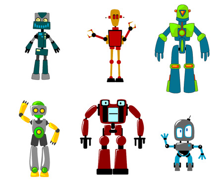 Six colorful funny cartoon robots, virtual agents with artificial intelligence, isolated on white