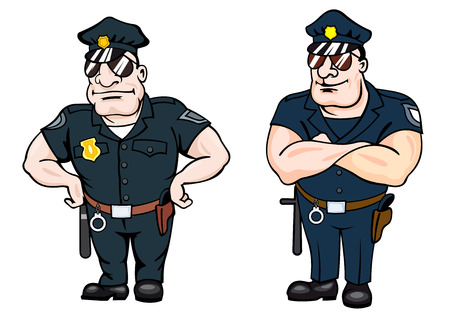 job security: Beefy determined police officers, one standing with his hands on his hips and the other with folded arms, cartoon vector illustration