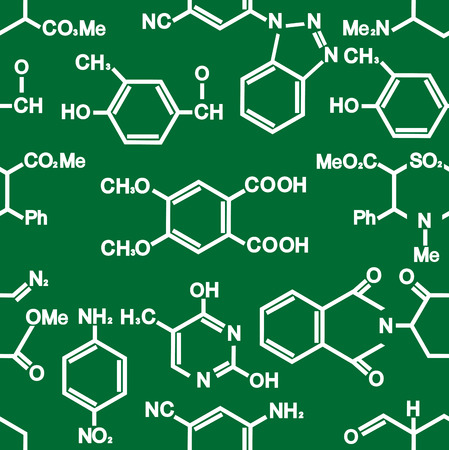 Chemistry seamless background pattern with formulae in white on green conceptual of a scientific education or research in square format Illustration