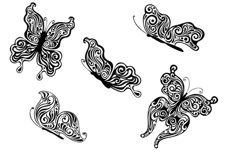 outspread: Ornate patterned black and white vector calligraphic butterflies with outspread wings and in profile with the wings closed