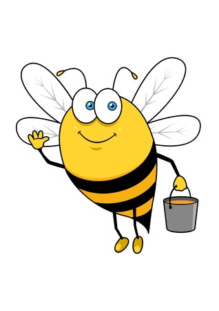 honey: Cheerful cartoon bee character with honey bucket waving hand in welcoming gesture for healthy food mascot or advertisement design