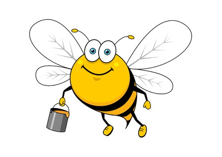 bee on white flower: Smiling bright striped bee cartoon character flying with sweet honey bucket for beekeeping or healthy food mascot design