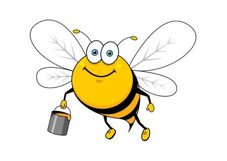 colmena: Sonrisa brillante personaje de abeja rayada de dibujos animados volando con dulce cubeta de miel para la apicultura o el diseño de la mascota de la comida sana