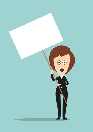 protest design: Business woman standing with open mouth and holding blank signboard on long stick with copyspace for demonstration protest concept design. Cartoon flat style