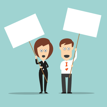 protest design: Business colleagues standing with open mouthes and holding sign boards with copyspace for demonstration protest or picket concept design. Cartoon flat style Illustration